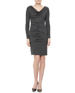 Nicole Miller Long Sleeve Cowl Neck Ruched Dress