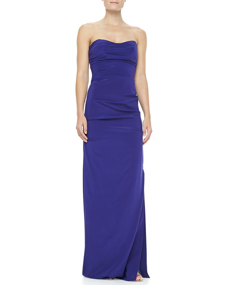 Ruched Strapless Stretch-Silk Gown