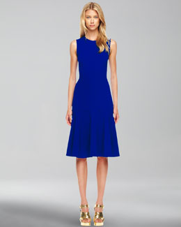 Michael Kors  Wool-Crepe Flared Dress