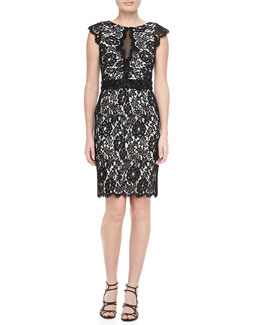 ML Monique Lhuillier Cap-Sleeve Lace Sheath Dress, Black