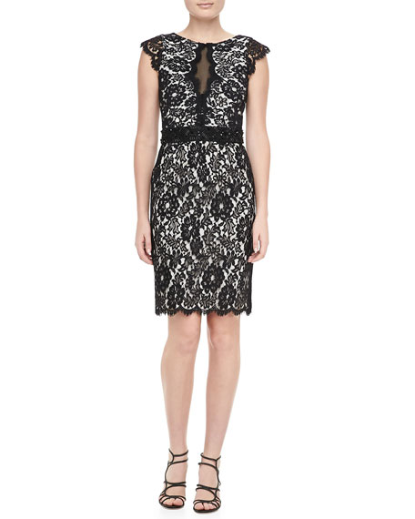 Cap-Sleeve Lace Sheath Dress, Black