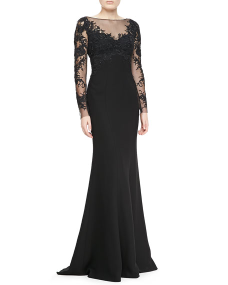 Embroidered-Sleeve Bodice Gown