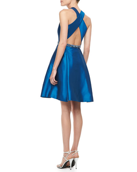 Sleeveless Belted Party Dress, Sky