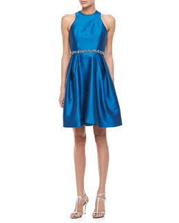 ML Monique Lhuillier Sleeveless Belted Party Dress, Sky