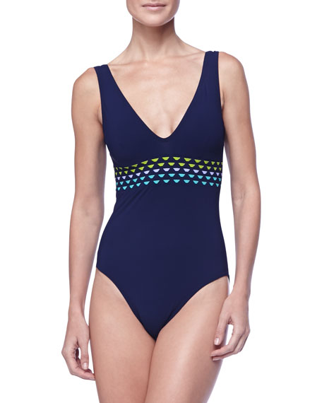 Woven Panel One-Piece V-Neck Swimsuit