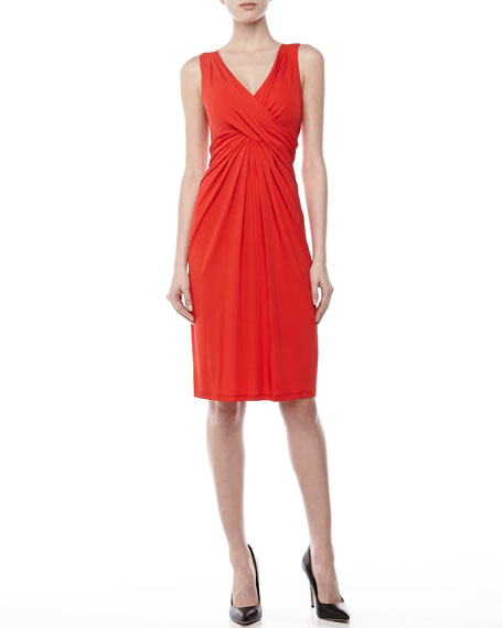 Starlett Twisted-Front Dress, Coral