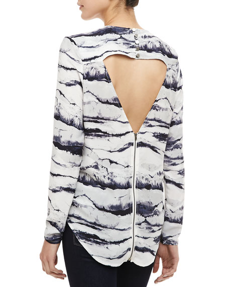 Mondrian Printed Cutout-Back Top
