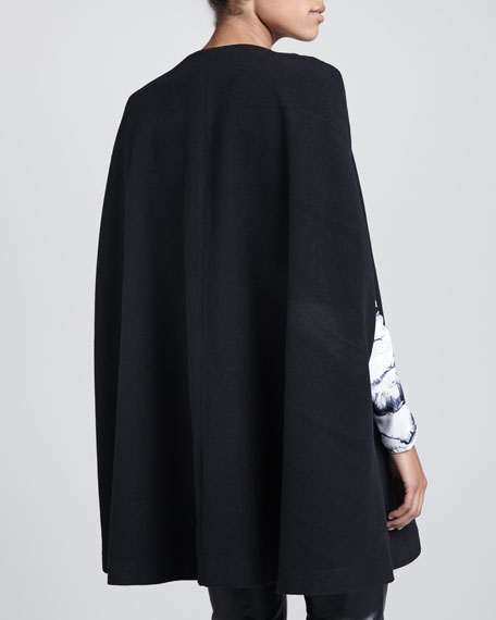 Florence Faux-Leather-Trim Cape