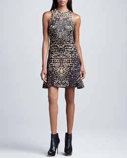 M Missoni Metallic Lizard-Print Jacquard Dress