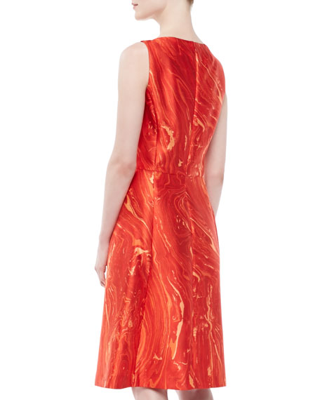 Agate-Print Shantung Dress