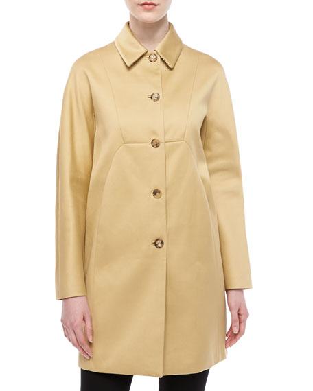 Sateen A-Line Coat, Sandstone