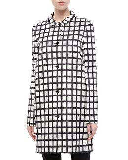 Michael Kors Ikat Duchesse Silk Reefer Coat