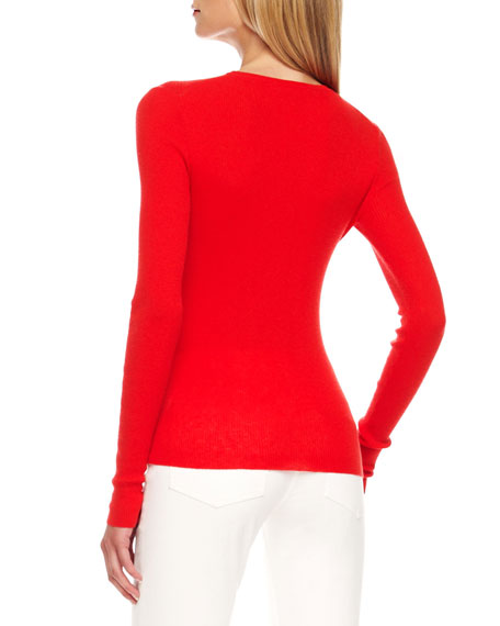 Featherweight Cashmere Sweater, Coral