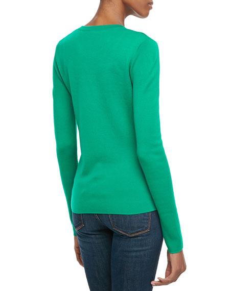 Ribbed Cashmere Cardigan, Emerald