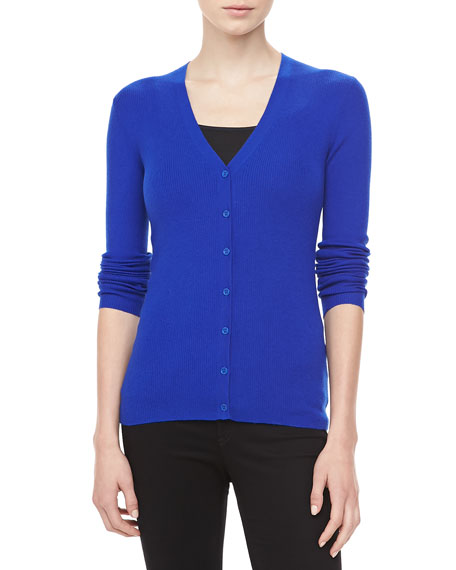 Ribbed Cashmere Cardigan, Sapphire