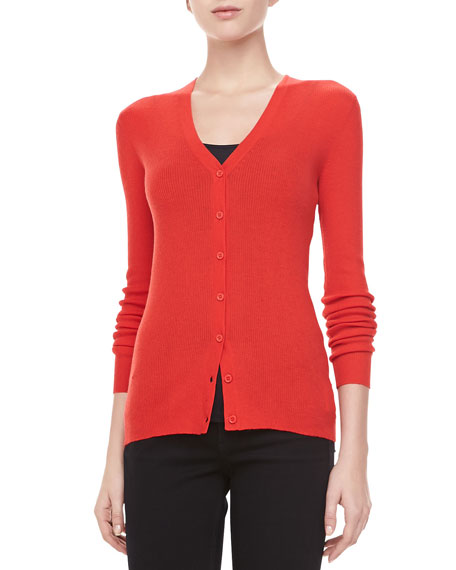 Ribbed Cashmere Cardigan, Coral