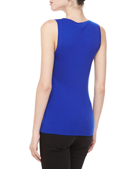 Ribbed Cashmere Tank, Sapphire