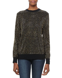 Michael Kors Embellished Long-Sleeve Cashmere Top