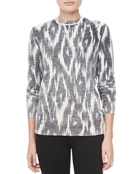 Ikat-Print Cashmere Top, Black/White