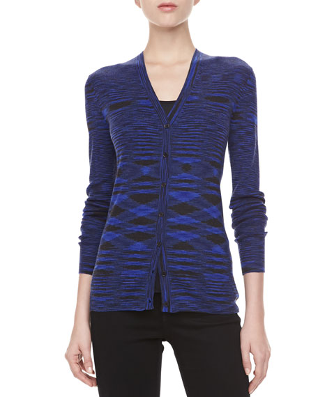 Space Dye Cashmere Cardigan, Sapphire
