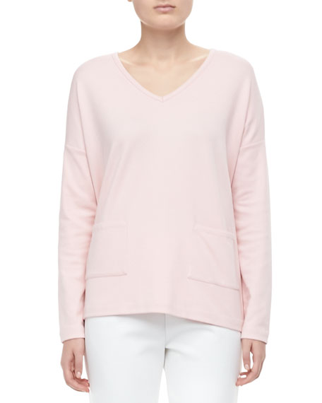 V-Neck 2-Pocket Boxy Top, Petite