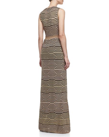 Metallic Hexagon-Stripe Maxi Dress