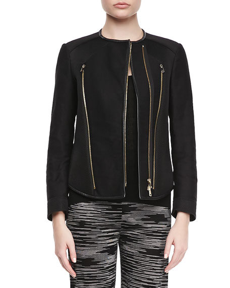 Zipper Leather-Trim Jacket