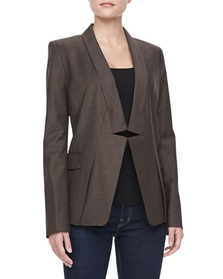 Relaxed Notched Collar Blazer, Heather
