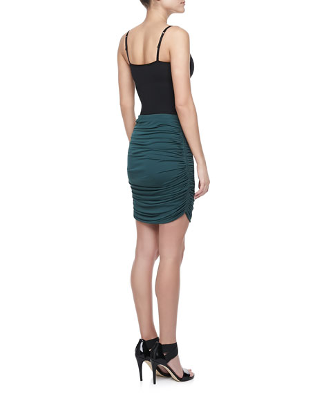 Ruched Jersey Skirt, Moss