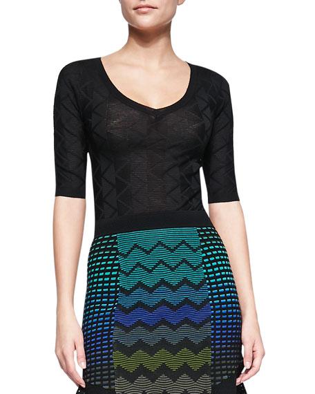 Half-Sleeve Zigzag Striped Sweater