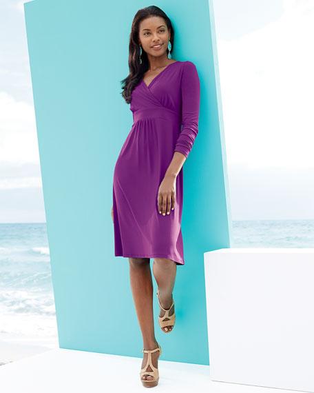 Jersey Knee-Length Long-Sleeve Dress, Women's
