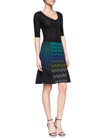 Zigzag Mix-Patterned Flutter Skirt
