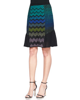 M Missoni Zigzag Mix-Patterned Flutter Skirt