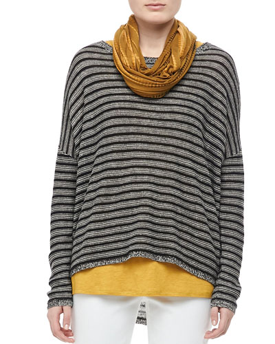 Eileen Fisher Washable Striped Boxy Top, Petite