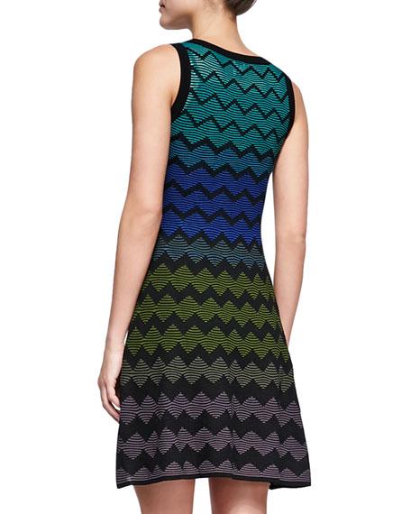 Multicolor Zigzag V-Neck Dress