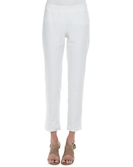 Eileen Fisher Washable Crepe Slim Ankle Pants, Petite