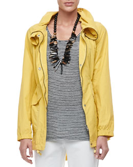 Eileen Fisher Weather-Resistant High-Collar Coat, Petite