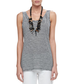Eileen Fisher Linen Jersey Striped Tank, Petite