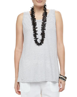 Eileen Fisher Linen Jersey Striped Tank