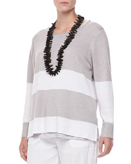 Eileen Fisher Wide-Striped Sweater Top, Petite