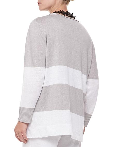 Wide-Striped Sweater Top, Women's