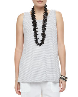 Eileen Fisher Organic Linen Jersey Striped Tank
