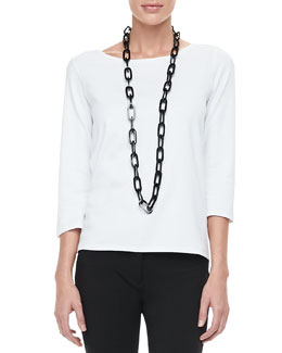 Eileen Fisher 3/4-Sleeve Cotton Tee, Petite