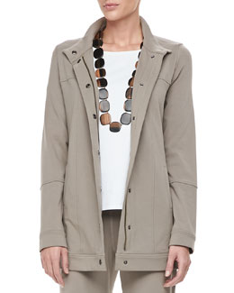 Eileen Fisher Organic Long Drawstring Jersey Jacket, Petite
