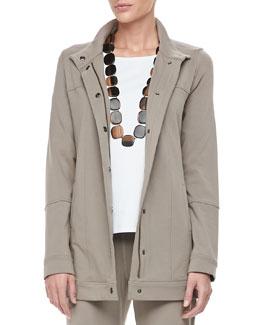 Eileen Fisher Organic Long Drawstring Jersey Jacket