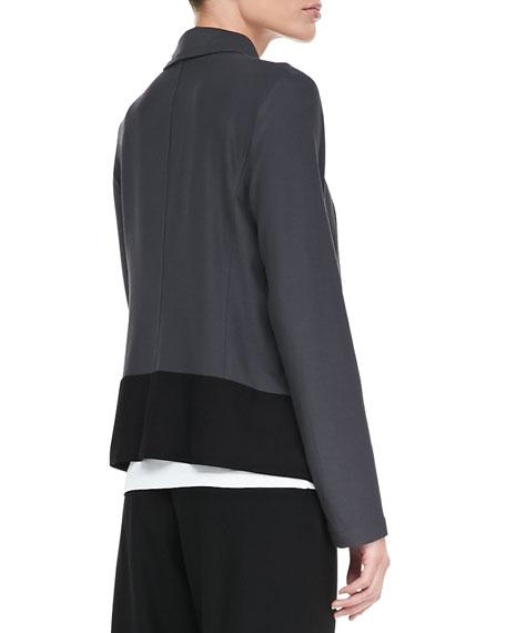 Drape-Front Colorblock Jacket, Petite