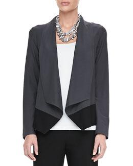 Eileen Fisher Drape-Front Colorblock Jacket, Petite
