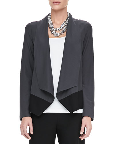 Eileen Fisher Drape-Front Colorblock Jacket, Petite