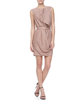 Halston Heritage Drapey Georgette Belted Dress