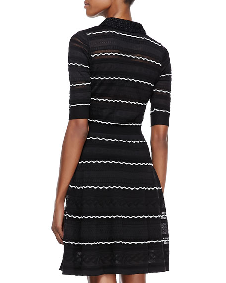 Textured-Knit Flared Dress